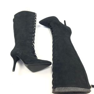 NWOB Womens SZ 7 Nine West Jacobe Boot Black Knee